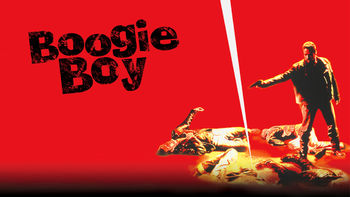 Artwork for Boogie Boy. Man with gun stnads over three corpses.